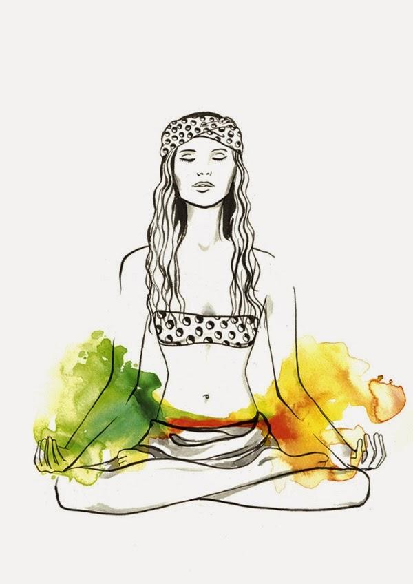 Dibujo de Mujer en Meditacion, Signo Libra