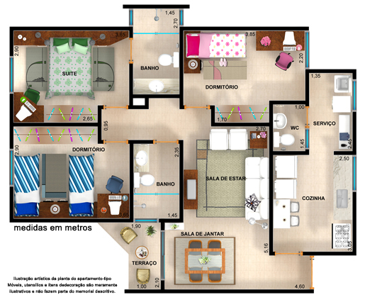 Plantas de casas 70m2 com 3 quartos for Modelos apartamentos modernos