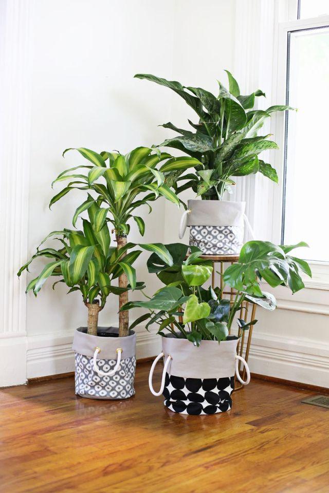 Diy bolsas de tela para las plantas la garbatella blog - Decoracion de maceteros ...