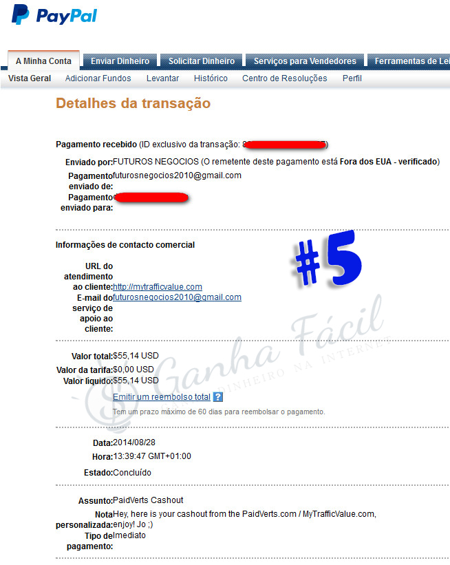 pagamento paidverts ptc dinheiro paypal comprovativo proof payout payment