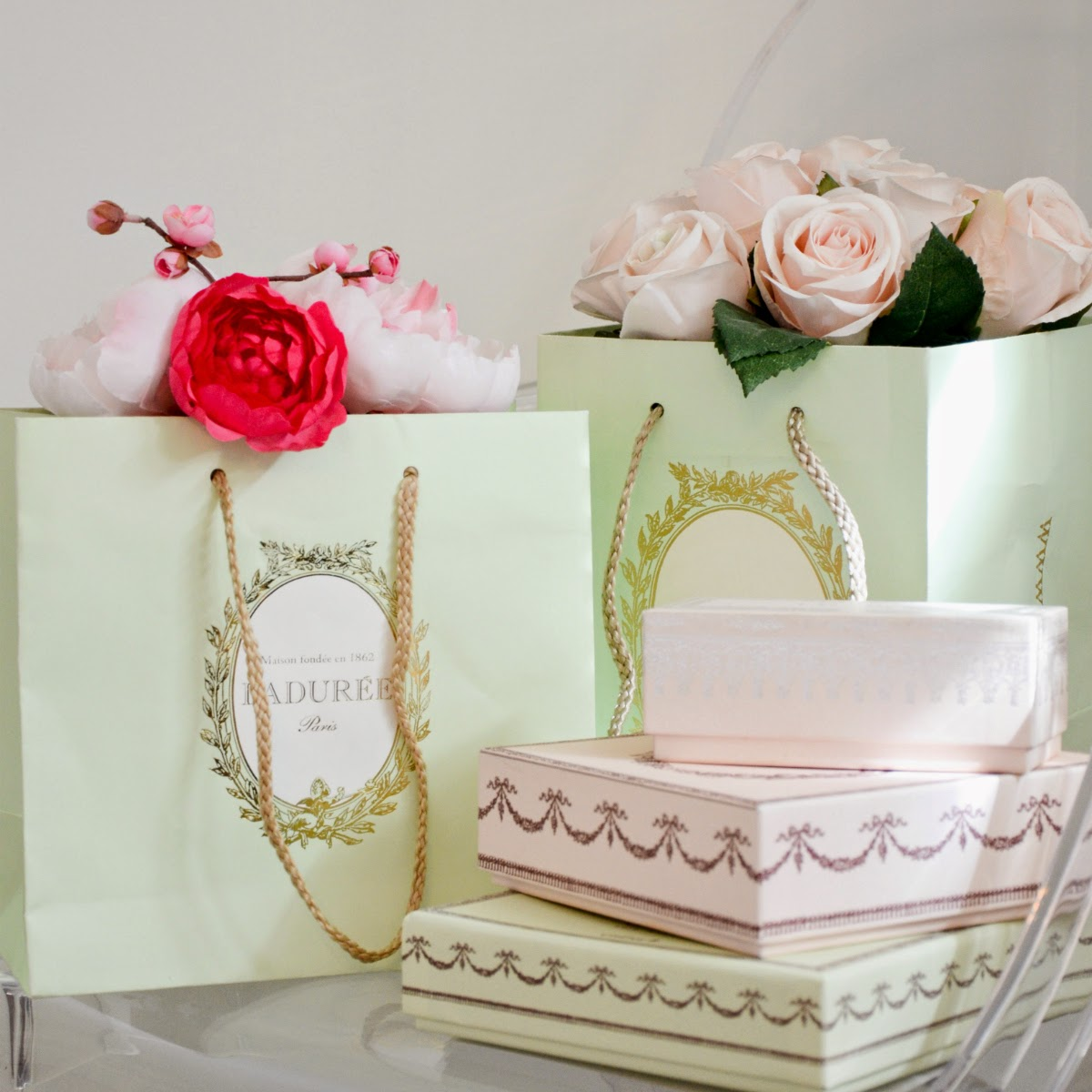 Laure mint coloured bags and roses and peonies- spring inspired look