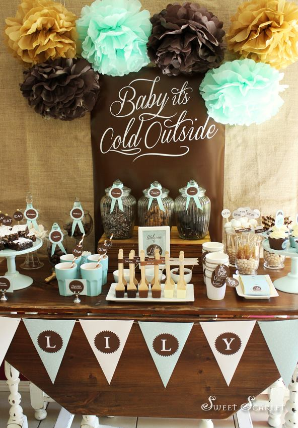 chocolate and pale blue themed party by sweet scarlet designs