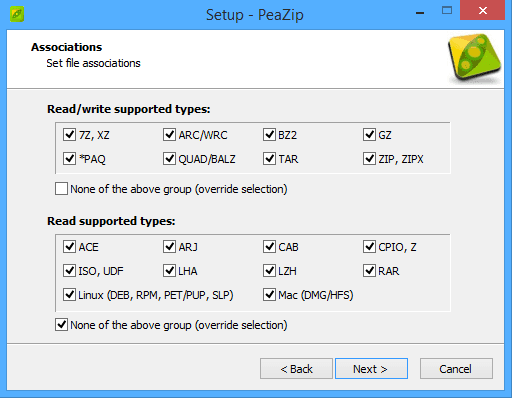 برنامج الملفات PeaZip