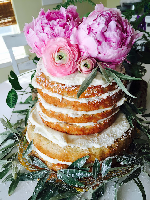 Banana Cake with cream cheese frosting, Naked Banana Cake with Fresh Flowers