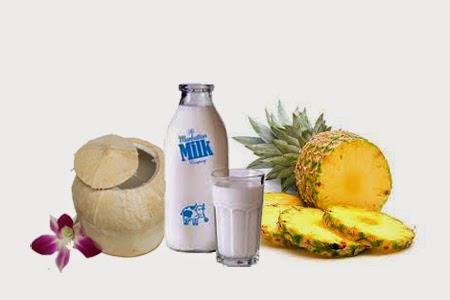 đắp mặt nạ tự nhiên dứa dừa tươi và sữa tươi