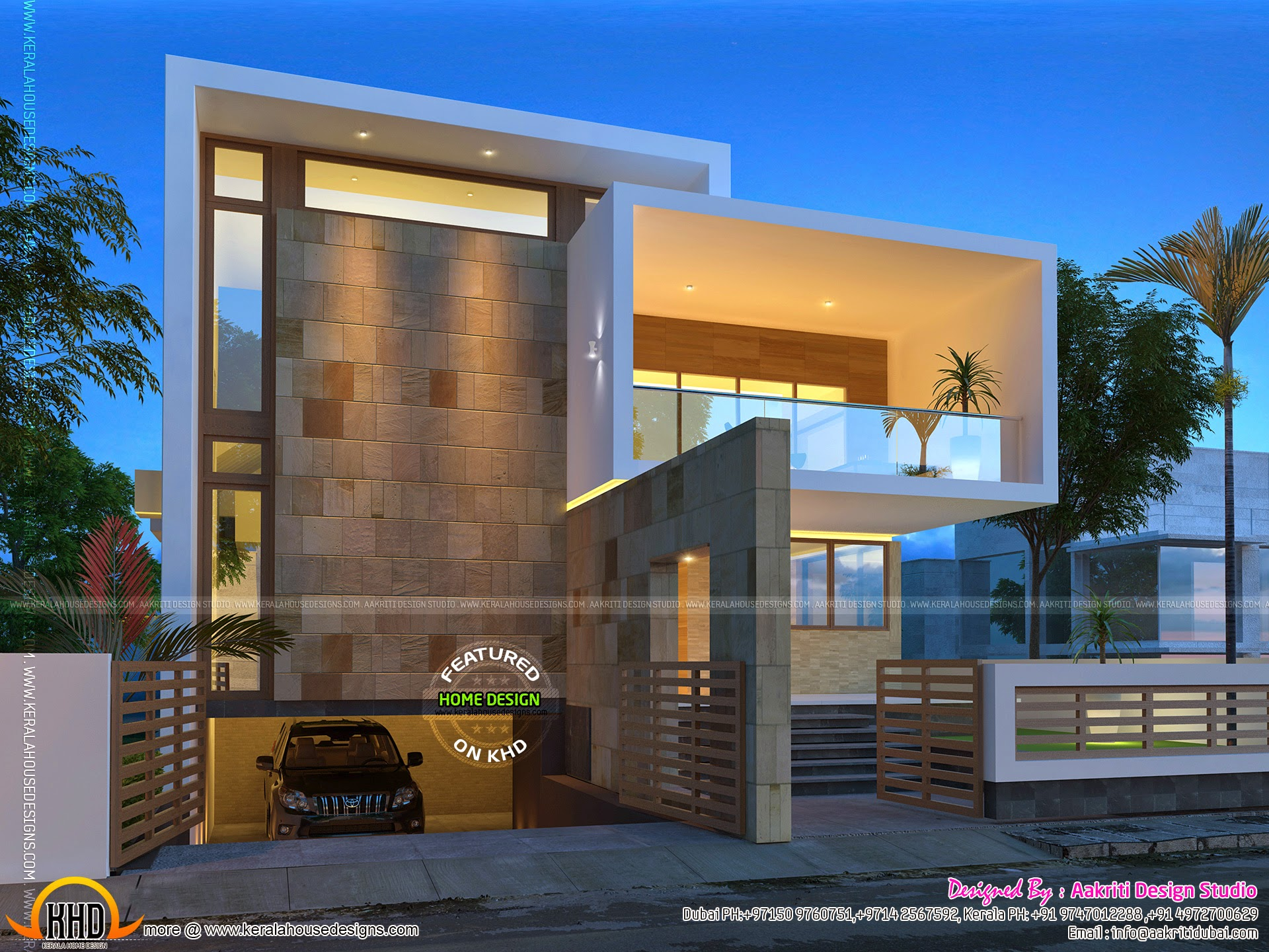 Beautiful contemporary home night views kerala home for Beautiful homes photo gallery
