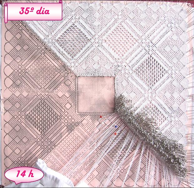 avance pañuelo de novia de encaje de bolillos, día 35 y 74 horas de labor realizadas