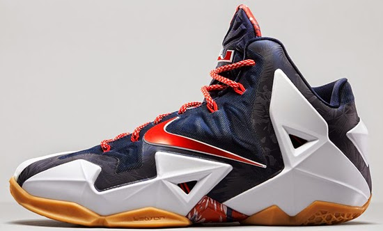 New Cheap Nike LeBron 11 Cheap sale USA White University Red-Obs