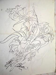 Riscos de Lírios para pintura em tecido
