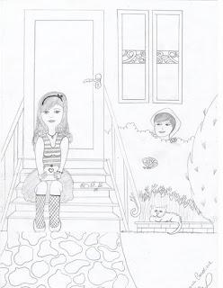 Desenho - garota sentada na escada
