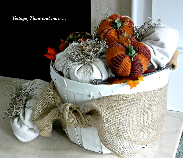 Vintage, Paint and more... drop cloth pumpkin in a vintage bushel basket