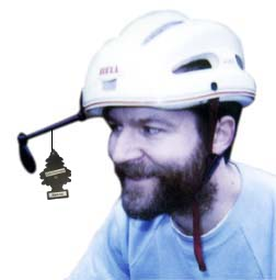 Car air freshener hanging from a helmet-mounted bike mirror