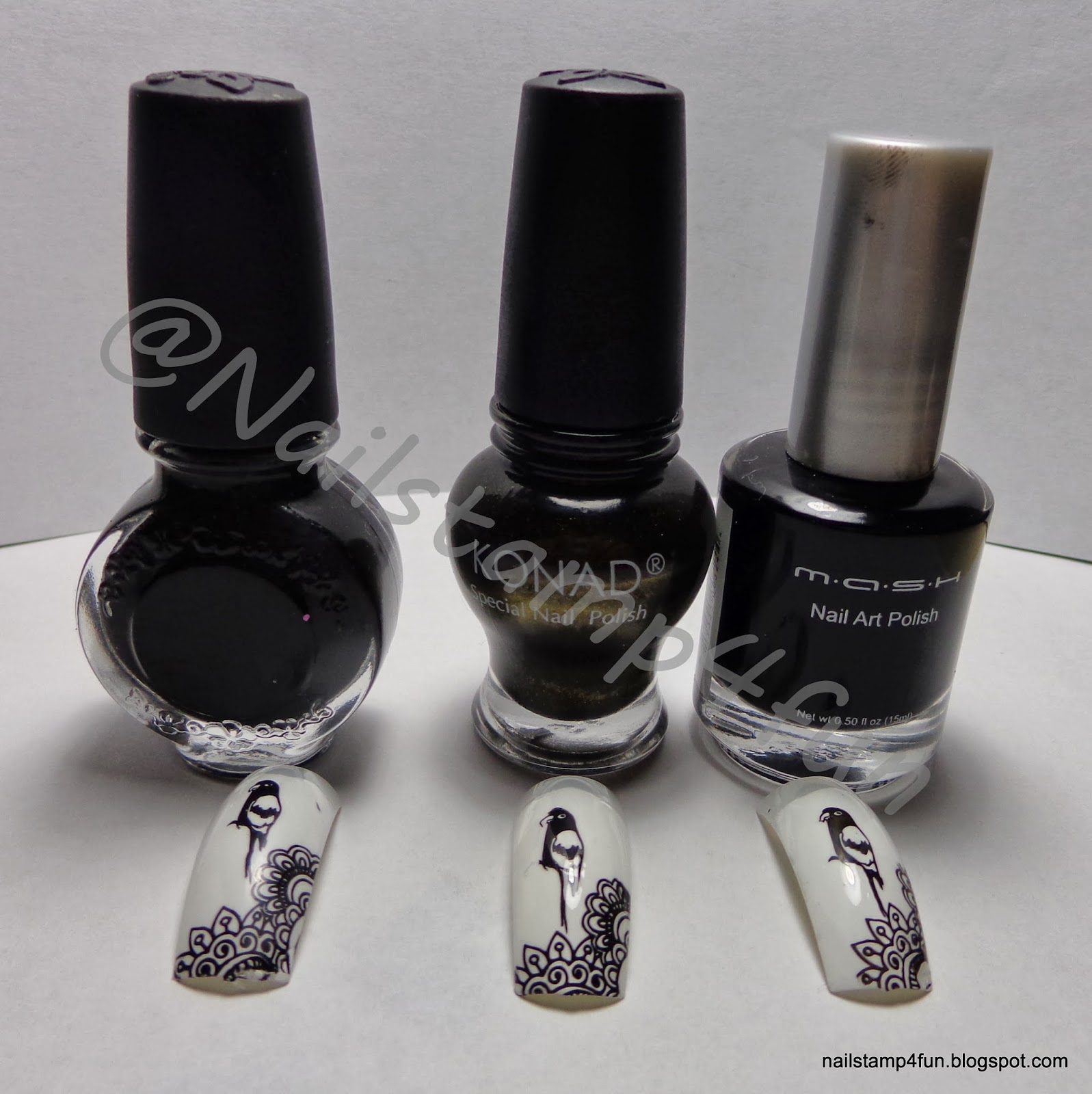 Nail Stamp 4 Fun: Swatches of Black & White Nail Stamping Polishes