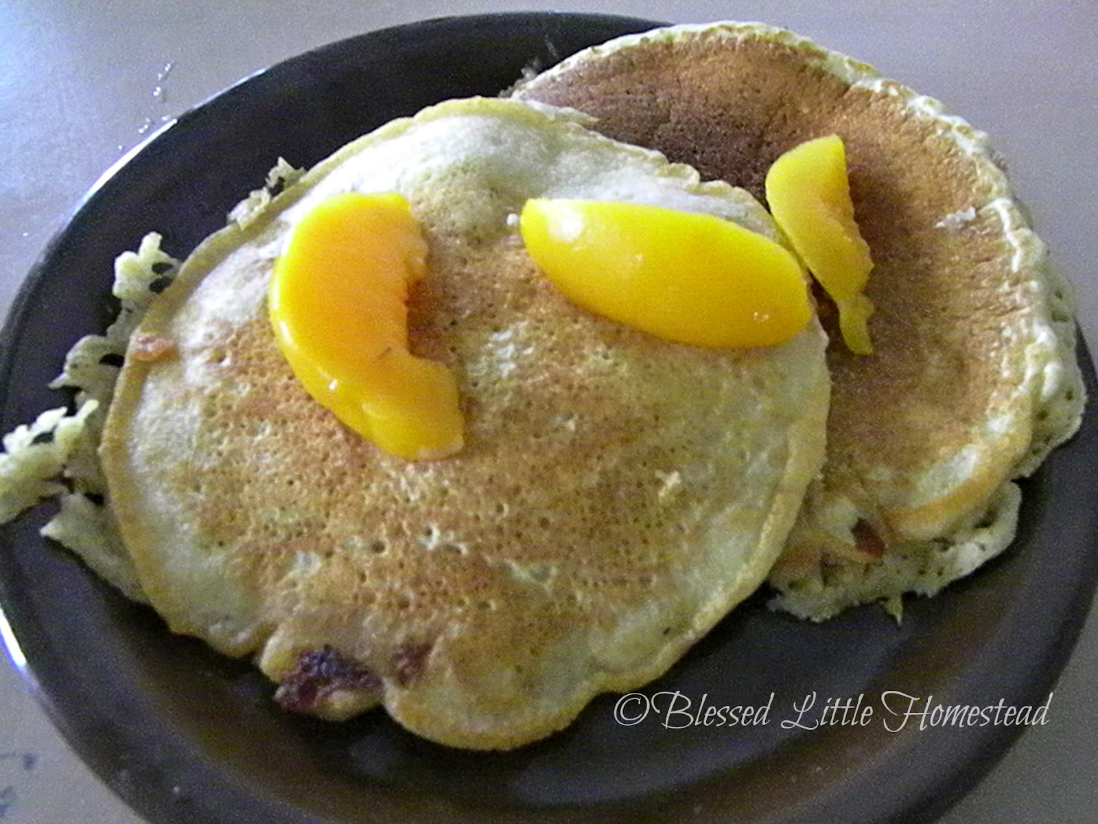 ... Little Homestead: September Skillet Meals ~ Whole Wheat Peach Pancakes
