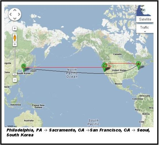Google Map Depicting Travel Route from Philadelphia to Seoul