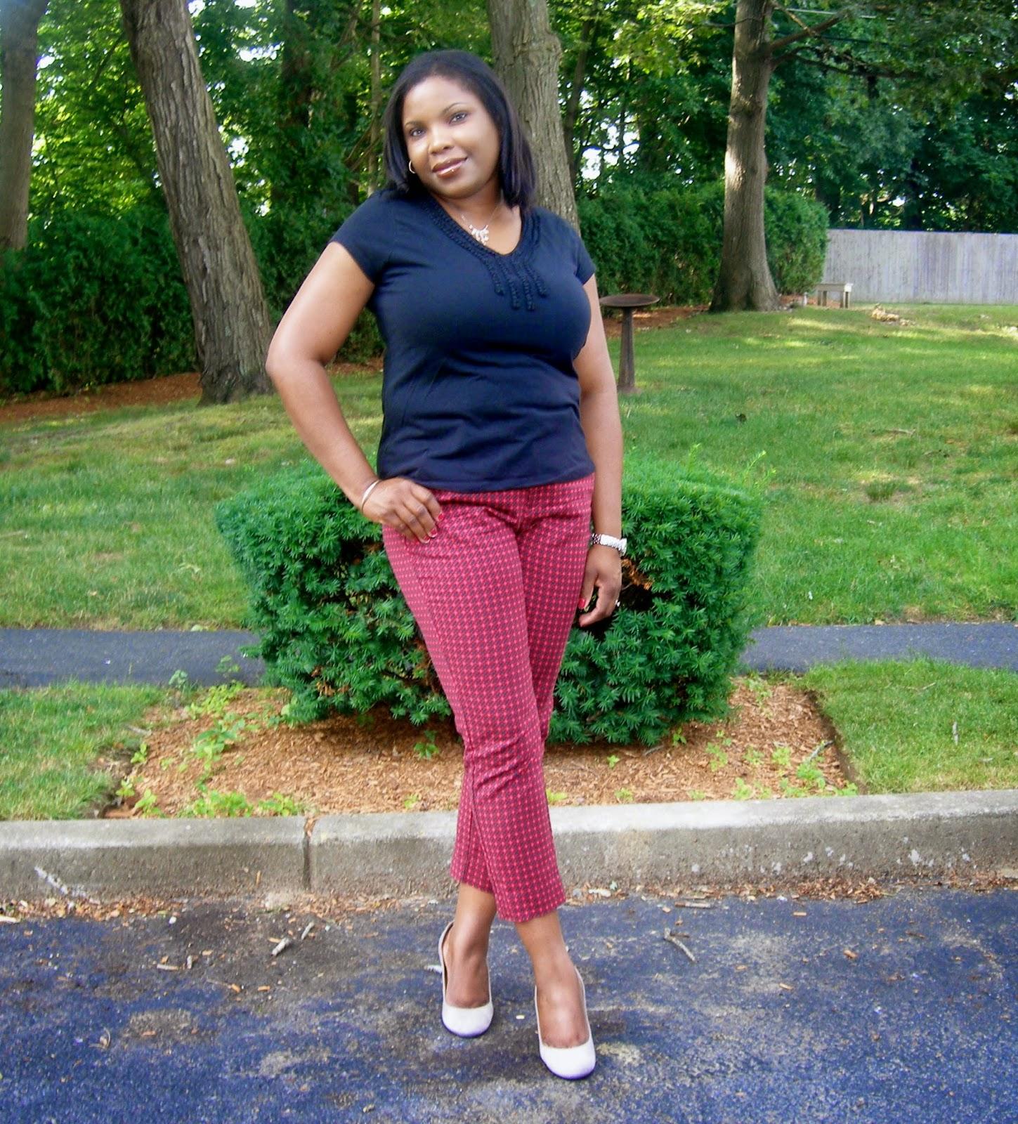 merona printed pants, plaid pants, Printed crops