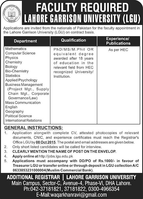 Teaching Faculty Jobs in Lahore Garrison University
