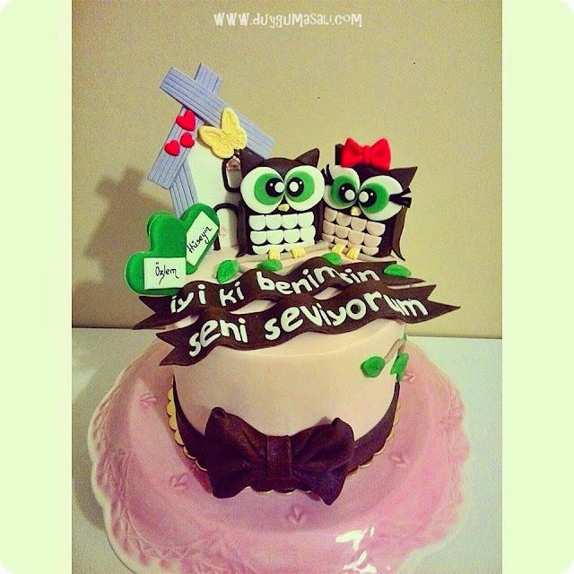 edirne baykuş doğum günü pasta