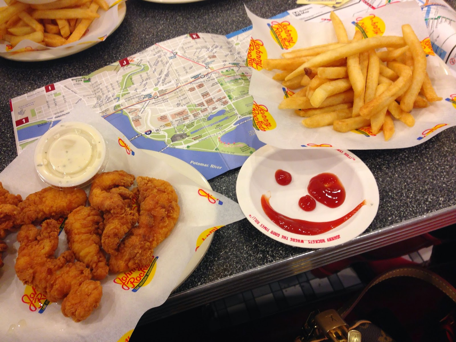 Johnny Rockets chicken and french fries