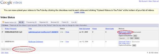Upload von Google Videos zu YouTube