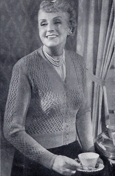 Free 1950's Knitting pattern - A Cardigan for the Fuller Figure