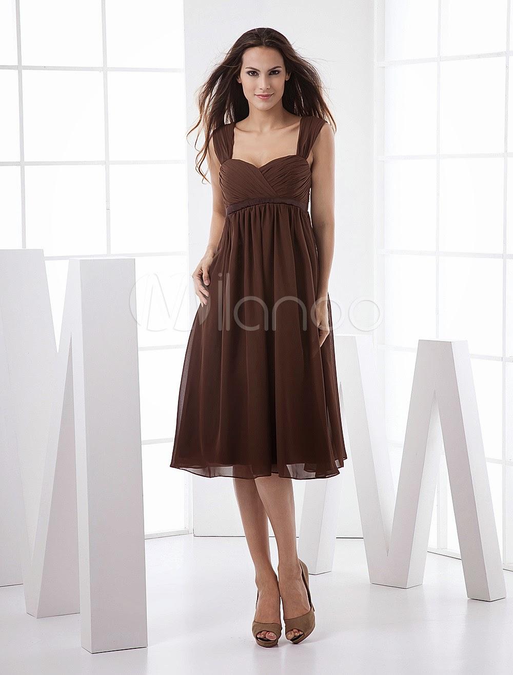 Robes sexy - Robe de soirée taille empire marron en chiffon
