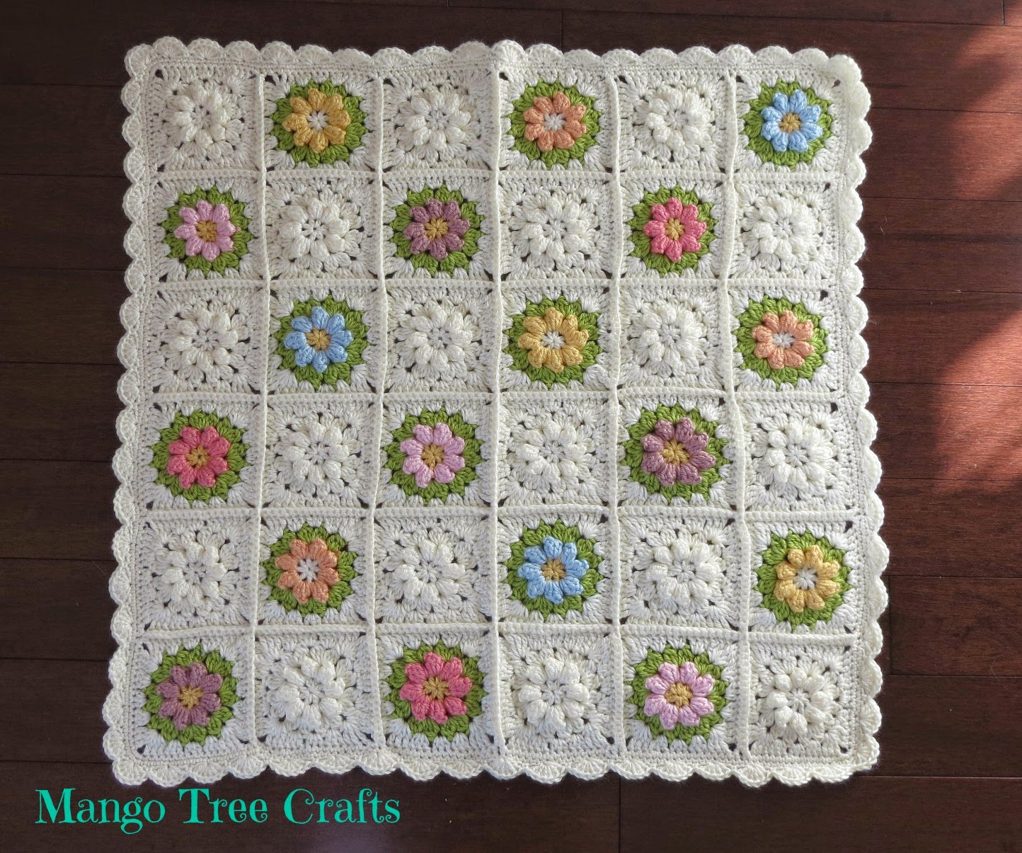 Crochet Patterns For Baby Blankets Squares : Mango Tree Crafts: Crochet Baby Blanket