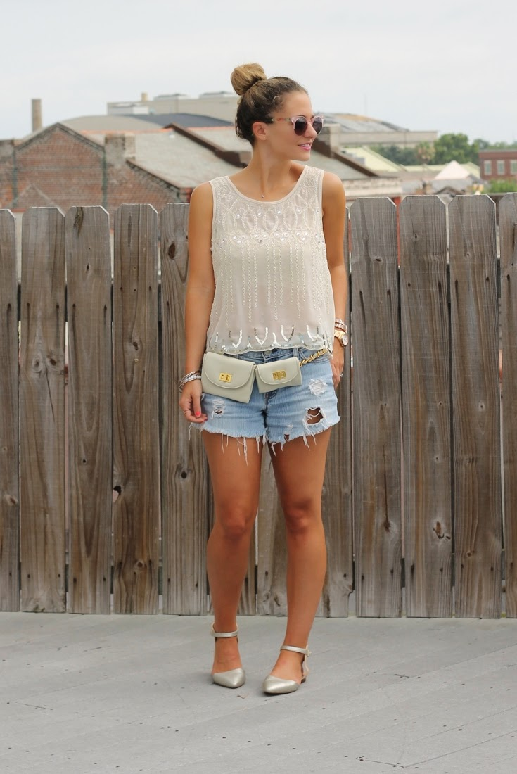 Sheer top with Cutoff Jean Shorts & Erin Dana Evan Belt Bag