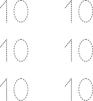dibuja el numero 10 diez ficha para repasar el numero 10 diez