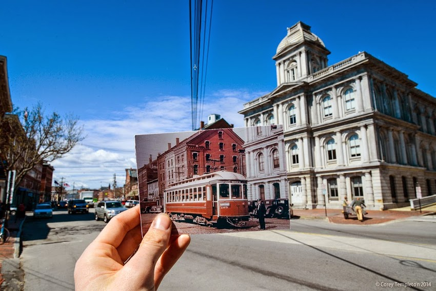Portland, Maine Trolley Custom House Commercial Street Looking into the Past Postcard today's photo by Corey Templeton