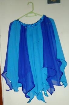 falda en picos azul