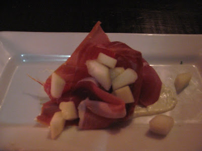Tapas Barinn Serrano ham with melon and horseradish