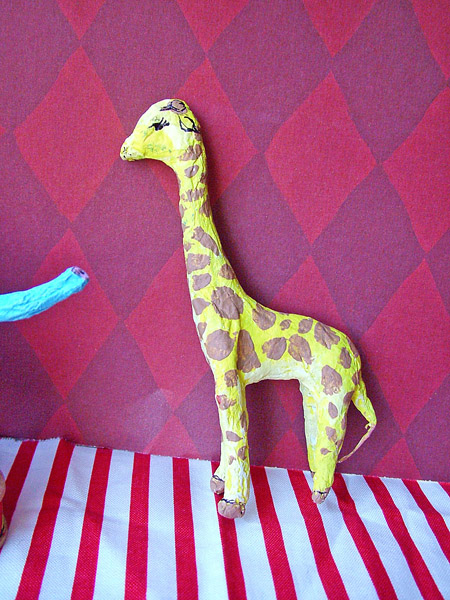 Small world land paper mache circus animals for Making paper mache animals