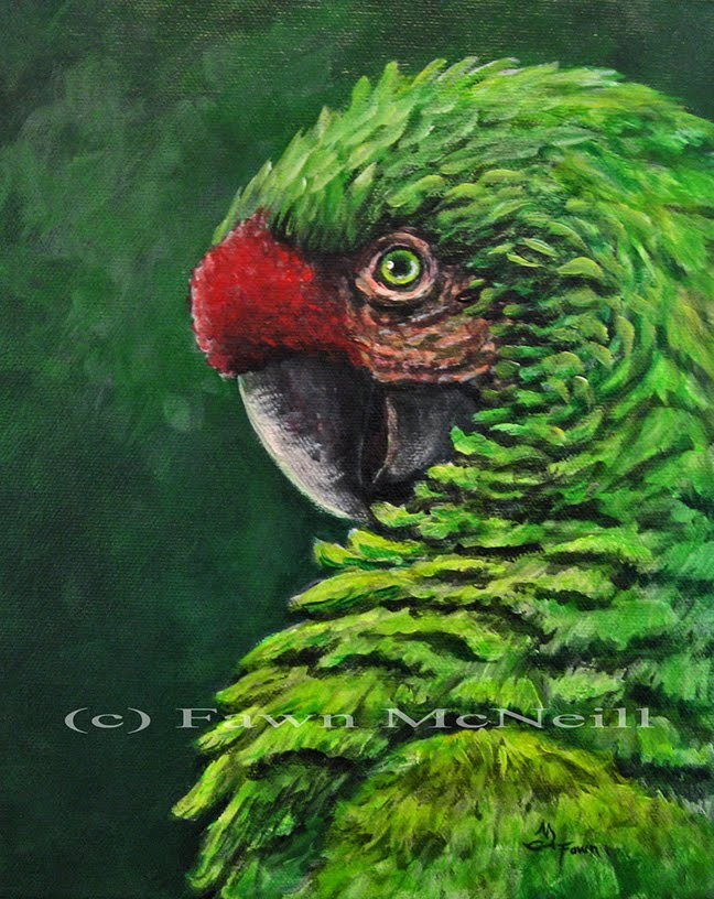 Green parrot painting - photo#4