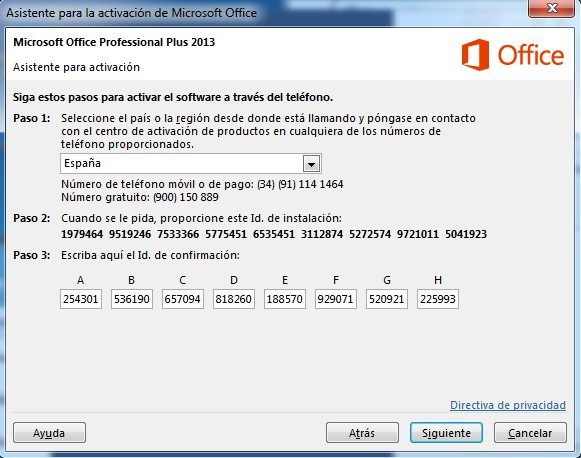 Activar telefónicamente Office Professional Plus 2013