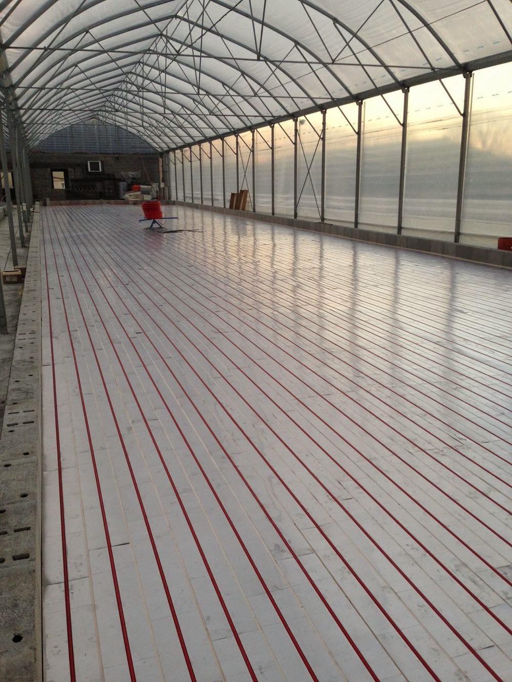 Vue d'un plancher chauffant pour spiruline de  300m² avant couverture avec une bâche EPDM