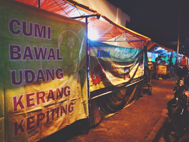 Row of Street Food Stalls in Yogyakarta