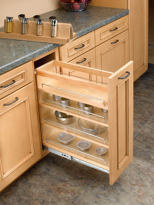 base cabinet pullout organizer with spice rack insert