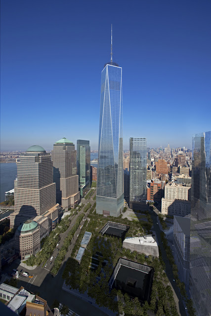 Photo of new One World Trade Center as seen from the hotel across the site