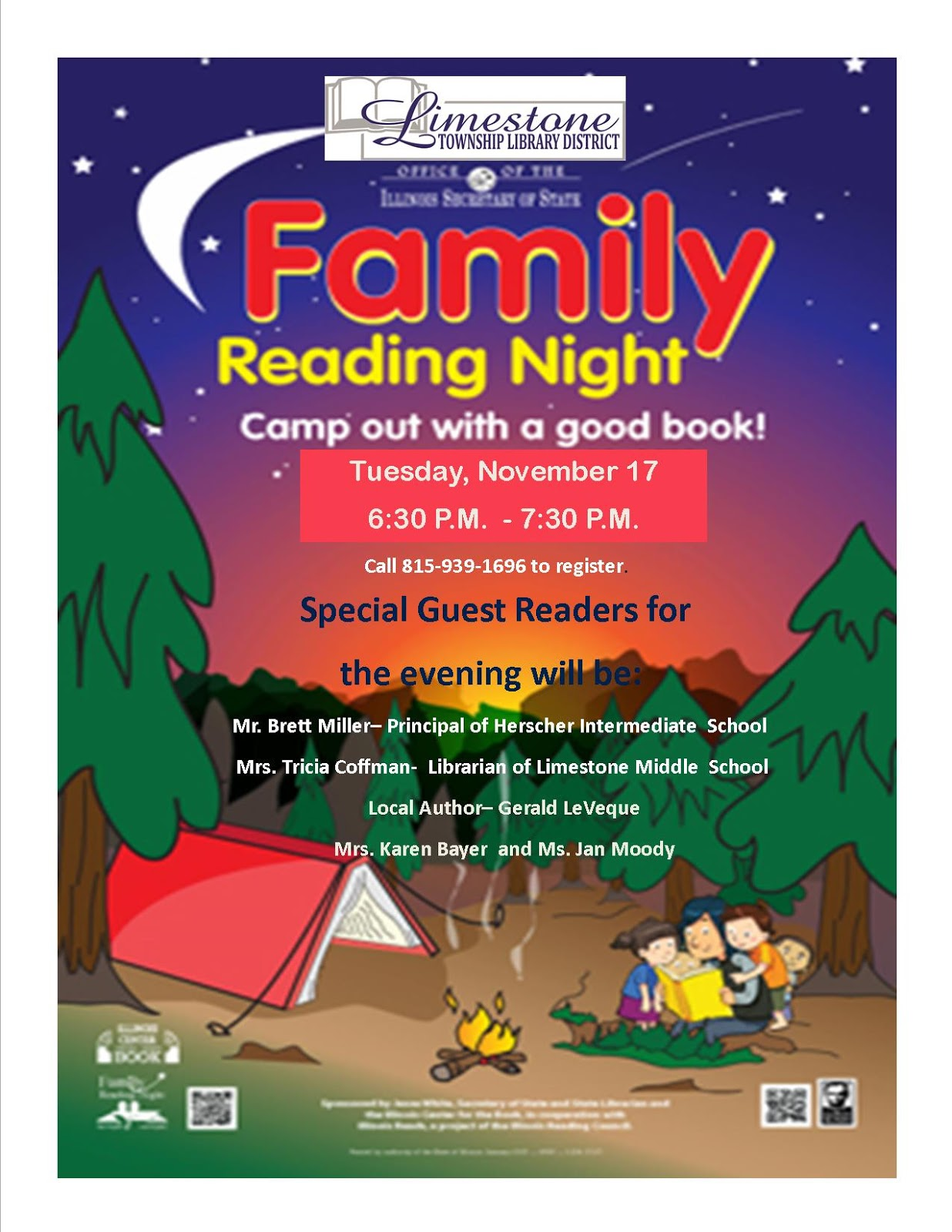 Limestone Township Library District Family Reading Night - Family reading night flyer template