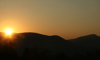 The sun blasts its way over the horizon