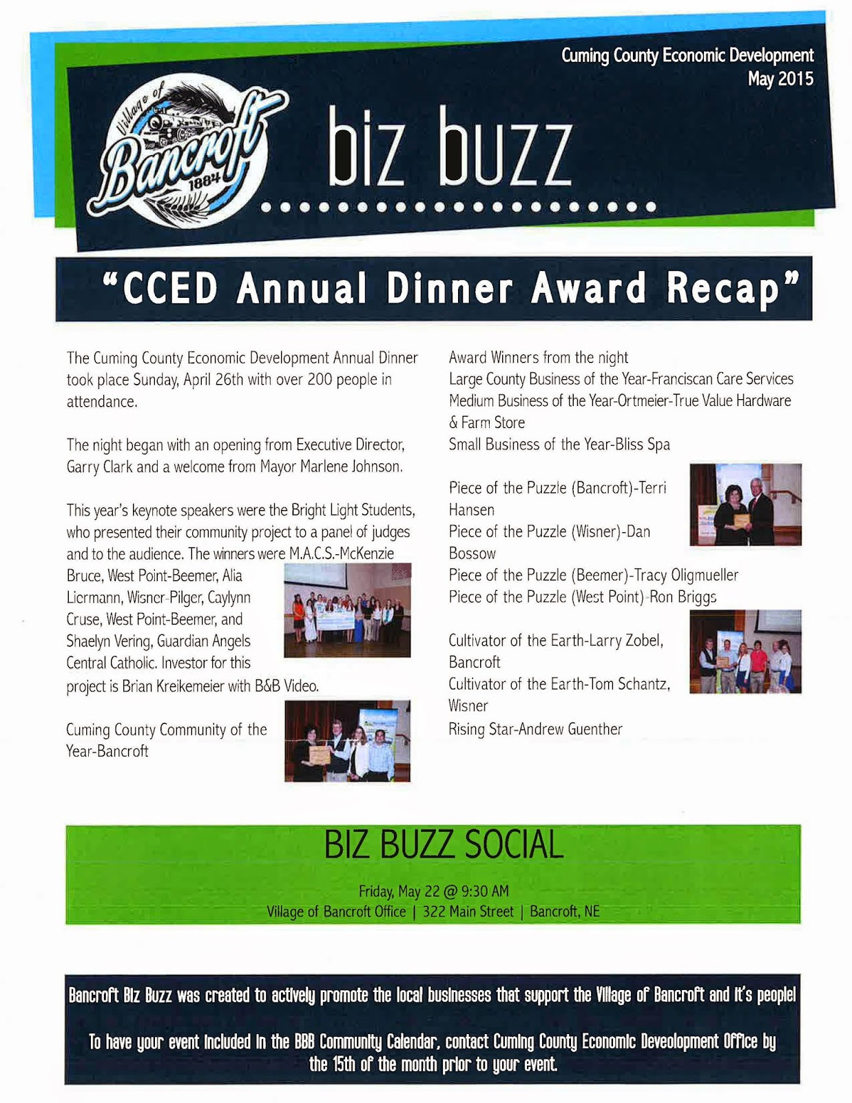 Nebraska cuming county - May Bizz Buzz Bancroft Is Couming County Community Of The Year