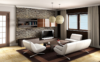Sala de estar iluminada moderna