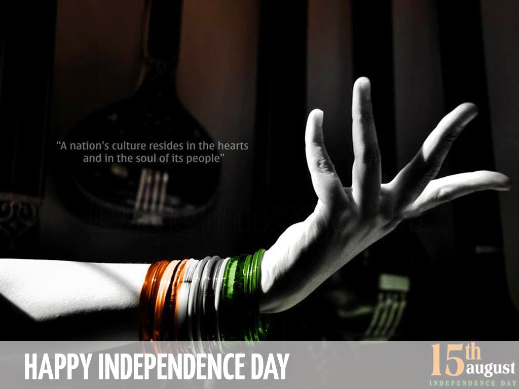 Girl showing her hand dancing with bangles in indian flag tri color happy Independence day wallpapers hd free download 2014 greetings wishes to all in desktop, mobile, smartphone for whatsapp, facebook, display pictures, profile pics