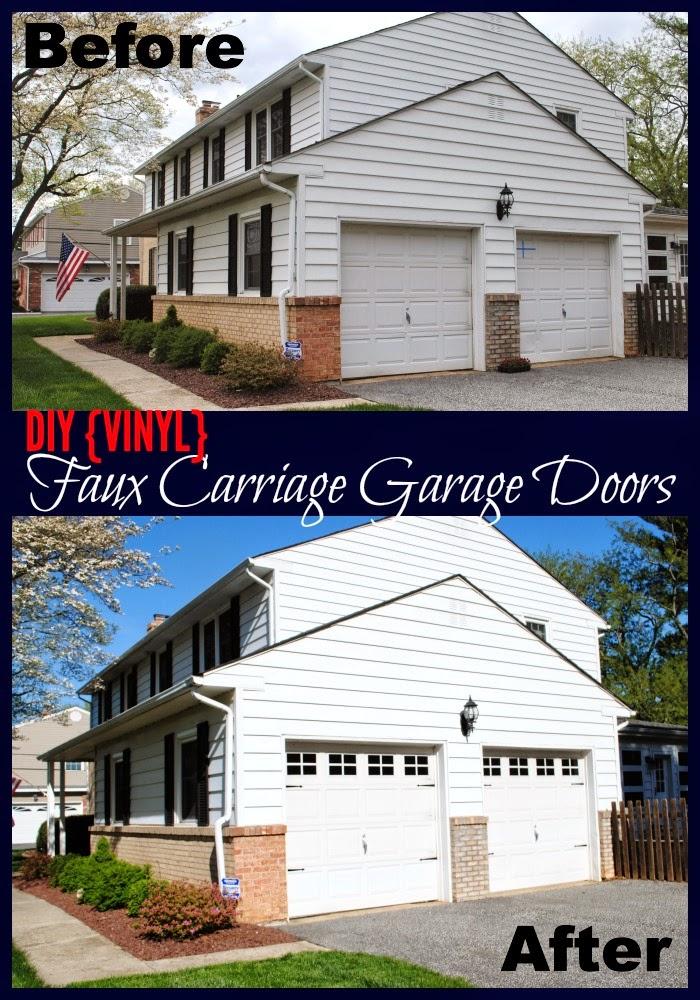 Diy vinyl faux carriage garage doors free studio file amp giveaway