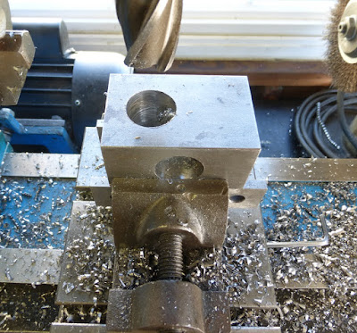 drilling hole in block for pipe