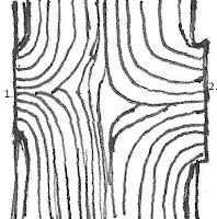 Tekening van kwasten en knopen in hout