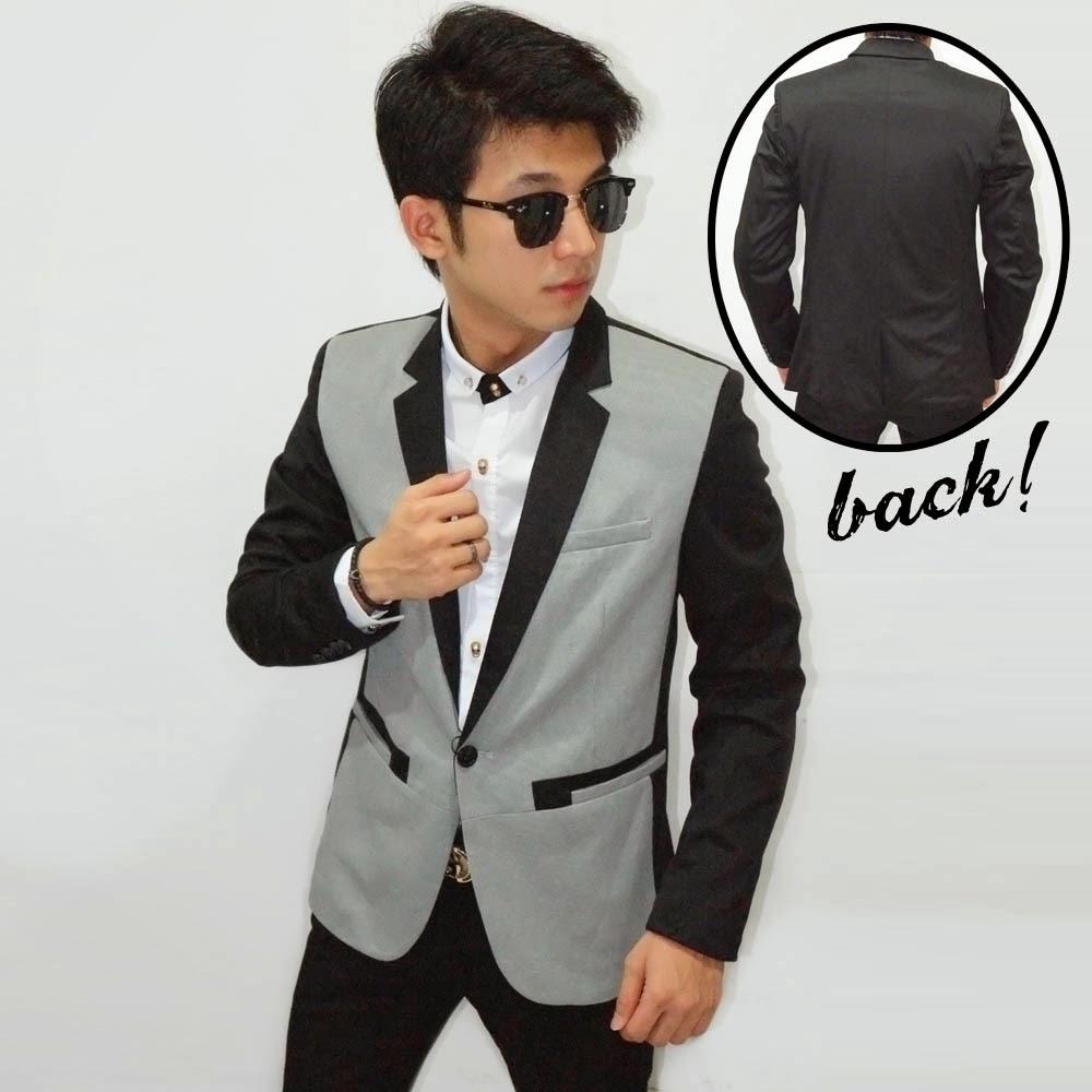 Blazer Tuxedo Silver Fashion