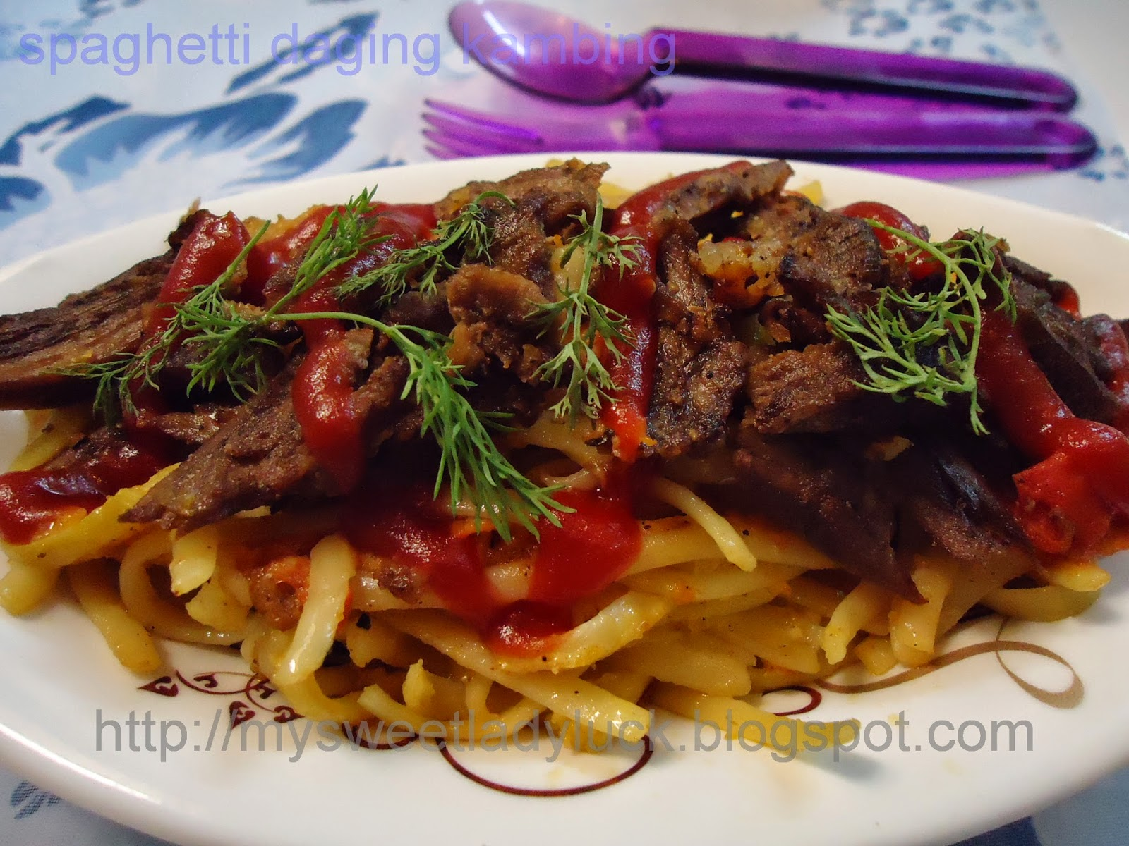 spaghetti daging kambing