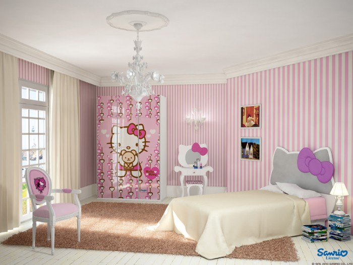 really nice bedrooms for girls. Hello Kitty Is Everywhere In This Bedroom, The Bed Headboard Of Shaped Like Kitty, Wardrobe Has It Painted On, And Even Mirror Really Nice Bedrooms For Girls